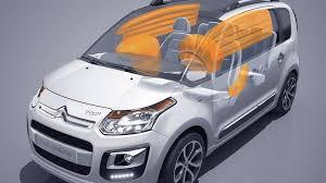 Schéma d'une voiture blanche avec des air bag orange